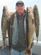 Captain Walt shows off 4 typical Lake Erie Walleyes